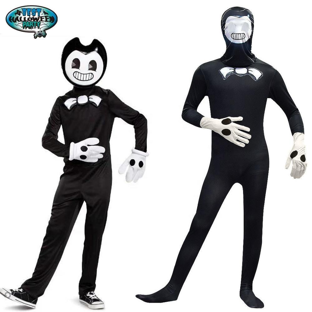 Bendy and the Ink Machine Cosplay Halloween Costume Black With Helmet 2019 New Arrivals Sale For Children