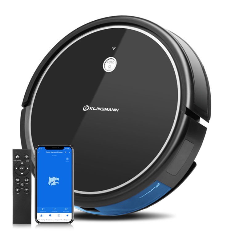Klinsmann New Design 1800Pa Strong Suction Automatic Intelligent Robot Vacuum Cleaner With 350Ml Dustbin Box