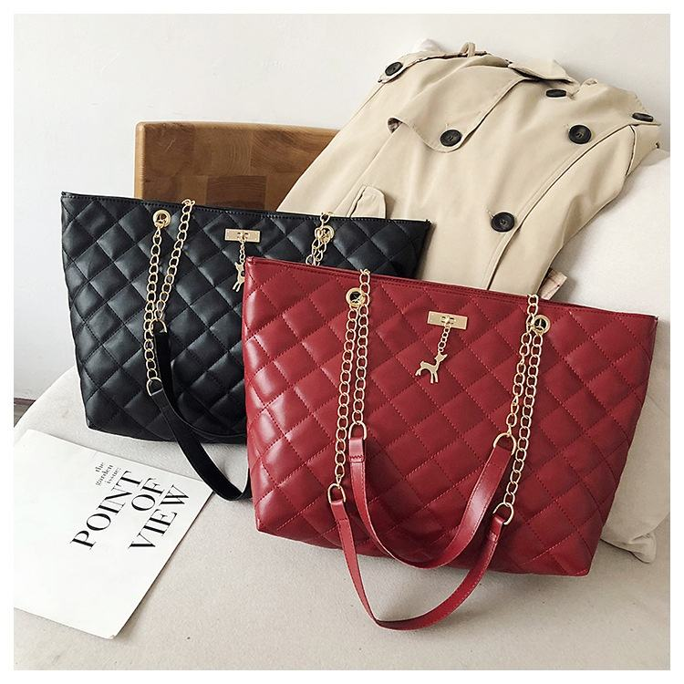 high quality wholesale big capacity deer plaid sling shoulder chain quilted bags women handbags tote