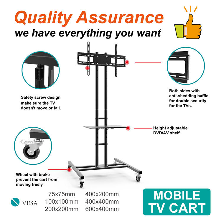 Lcd/led mobile tv cart for 30''-55'' tvs, cart tv stand wall mount