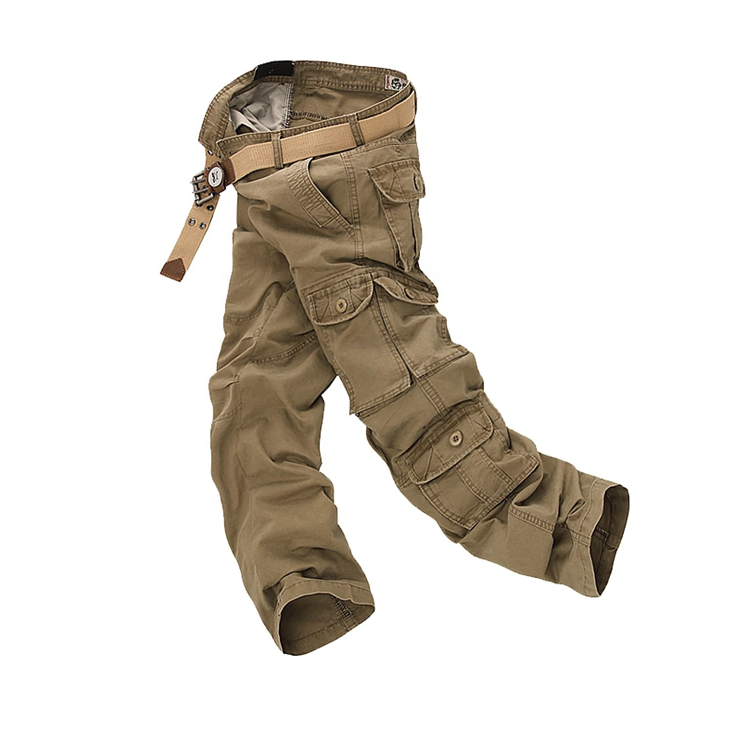 Casual work chino khaki Pants wholesale Cargo athletic mens cargo camouflage trousers with side pockets