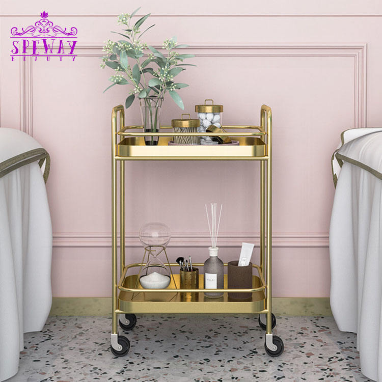 new simple golden salon pedicure cart stainless steel rolling trolley on sale