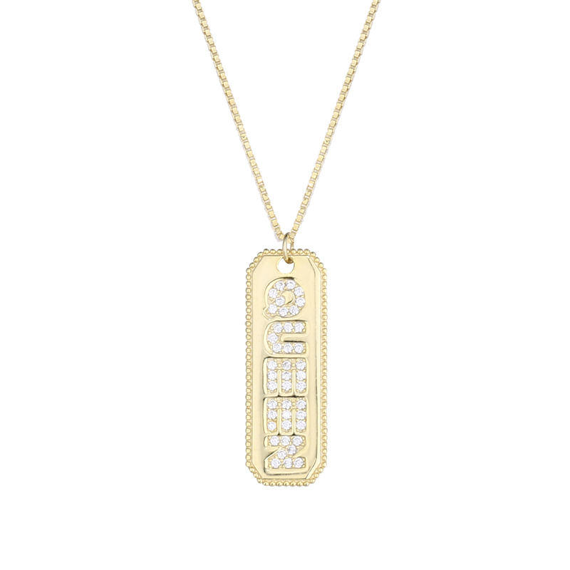 Hot Trendy 925 Sterling Silver Jewelry Zircon QUEEN letter rectangle Pendant 18K gold Necklace Women