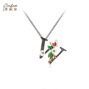 Wholesale DIY Custom Logo Zircon Fashion Letter W Pendant Jewelry Beautiful Alphabet Pendant With Green Spinel