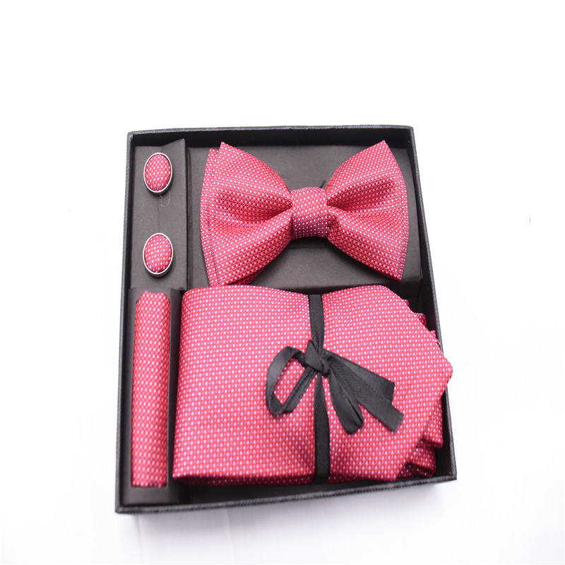 Fashion striped men's wholesale necktie bow tie Cufflinks Gift Set