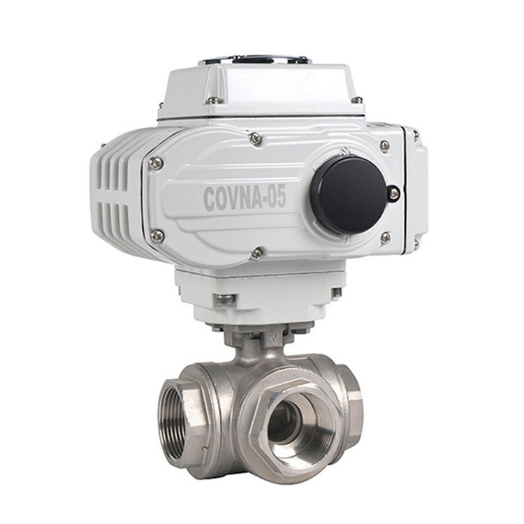 Covna 1/2 Inch 3 WAY CF8M 1000 Wog 12V Wanita Ulir Stainless Steel Electric Motorized Ball Valve