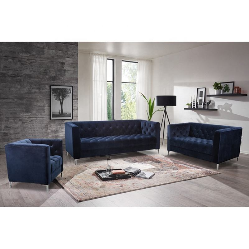 Luxury Velvet Tufted Chesterfield Living Room Sofa Set With Competitive Price
