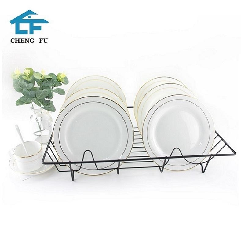 Factory direct supplier single tier roll up iron wire kitchen plate dish drying rack