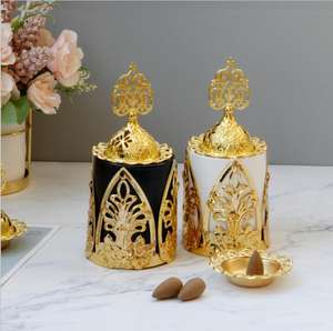 company popular zen hotel gold ceramic base with metal holder Arabic Incense Burner