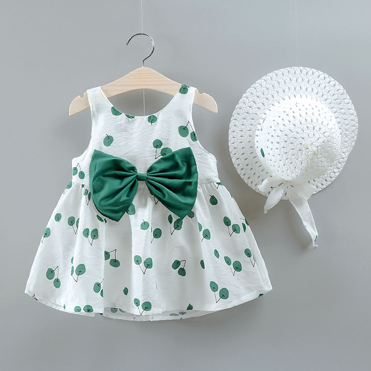 2020 Summer cotton blend 1 year 2 year girl casual baby dresses with hat
