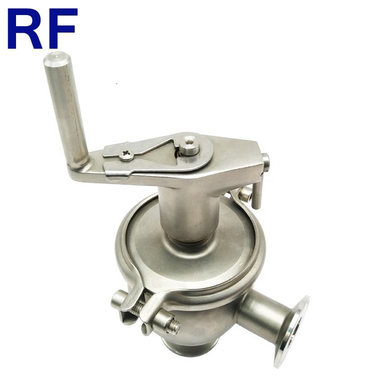 RF Manual Divert Reversing Stop Seat Valve With Tri Clamp Fittings