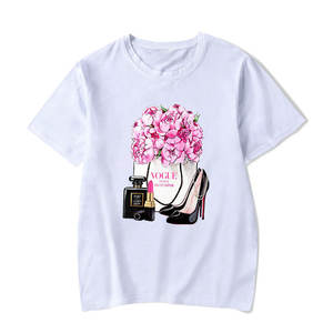 Aesthetic Clothing Vogue Perfume Bottles Flower Watercolor Graphic T Shirt Women
