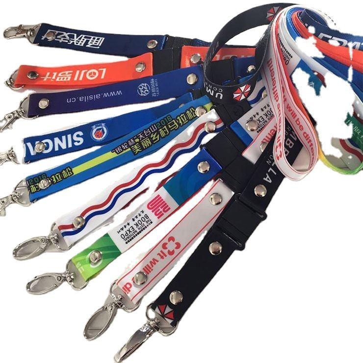 lanyards with logo custom polyester Neck Id Card Whistle Key Cell Phone Lanyard Wrist Strap