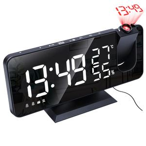 2020 New LED Smart Electronic Desktop Table Desk LED Laser Ceiling Digital Projection Alarm Clock With Radio and Weather Station