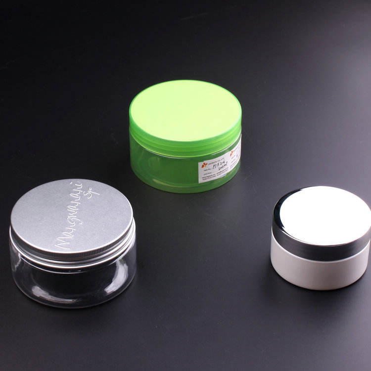 Thickness 100ml 200ml 250ml Round Transparent, Half Transparent and White PET Cosmetic Jar