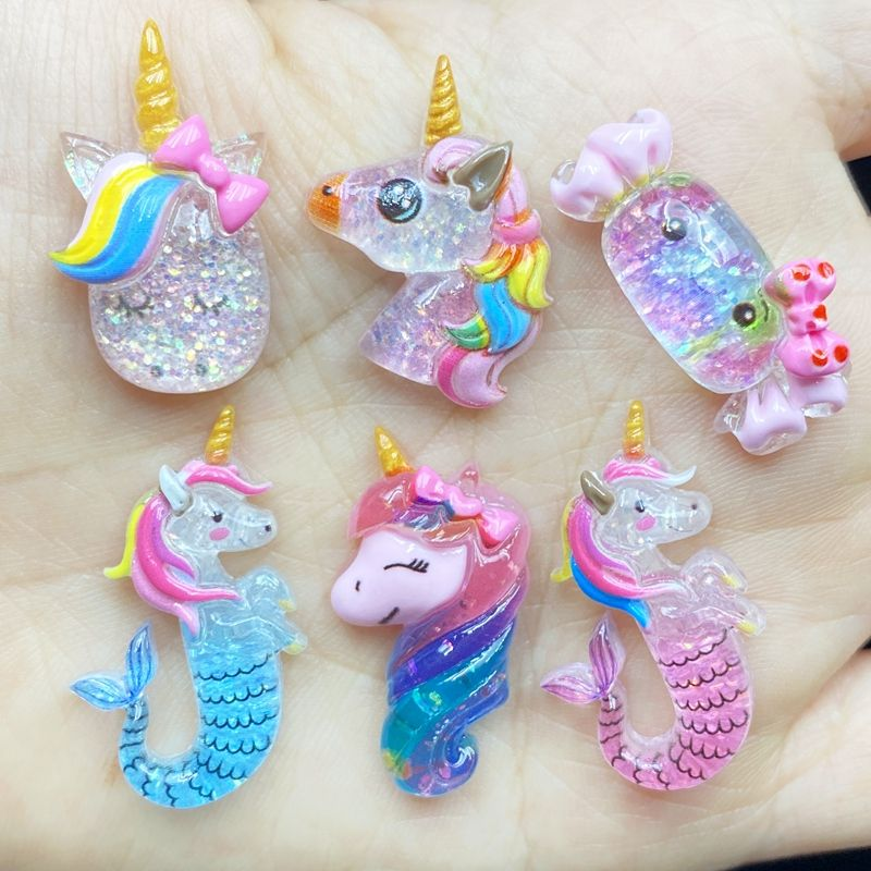 Unique Mixed Shiny Glitter Horse Candy Resin Flat Back Figurine For DIY Wedding Scrapbook Decor Home Craft