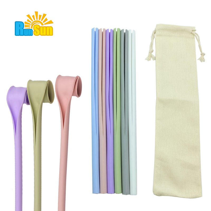 Non Plastic Straw Silicone Drinking Straw With Case, Silicone Straw Set Wholesale
