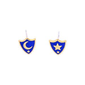 me98268 New Design Gold Plated Brass 925 Silver Post Handmade Blue Enamel Star Crescent Moon Stud Earrings for Women