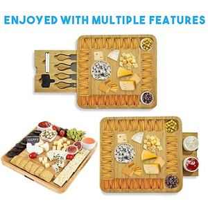 Bamboo Cheese Board Wooden Two Ceramic Bowls Two Magnet Drawers Serving Platter Cutlery Server Knife Set