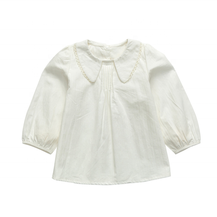 Infant Baby Girl White Shirt 100% Cotton Spring Autumn New All-Match Fresh and Thin Lapel Puff Long-Sleeved Shirt Tops