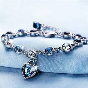2020 New Design Heart of Ocean Blue Zircon Charms Bracelet Love Diamond Girl's Best Gift Women's Bracelet Jewelry for Sale