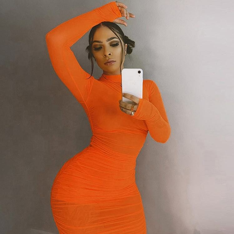 Stand Neck Orange See Through Bodycon Dress Long Sleeve