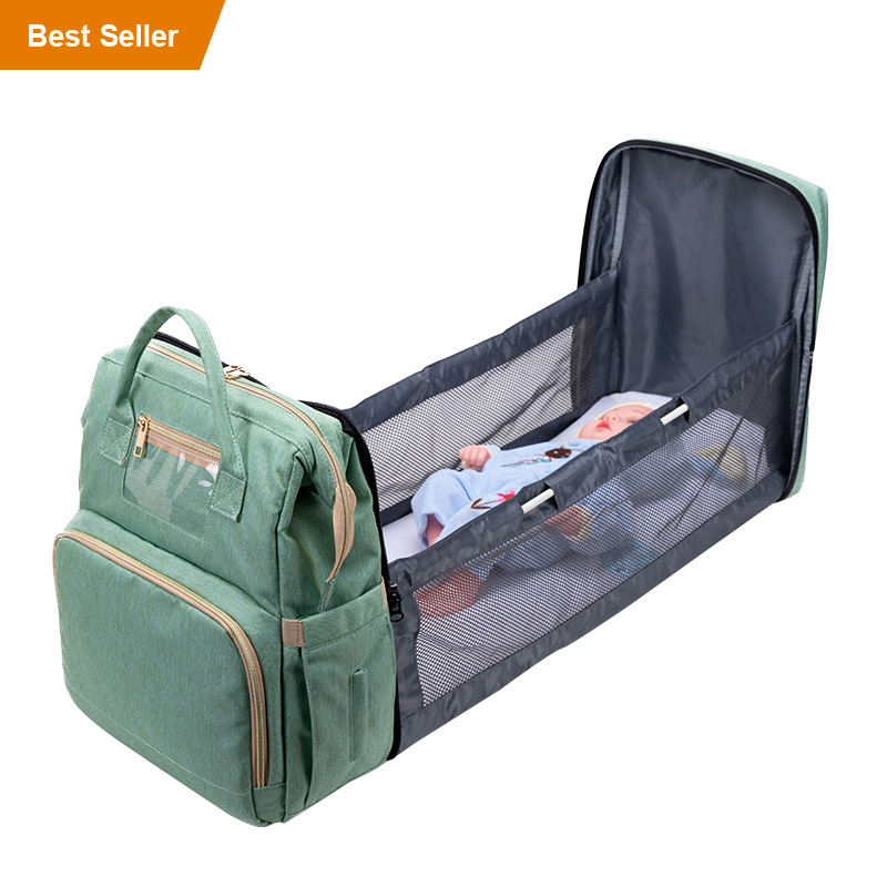 2 in 1 multifunctional Travel Large Capacity Bagpack PVC Waterproof Mother Baby Bed Backpack Mommy Diaper Bag with Card Holder