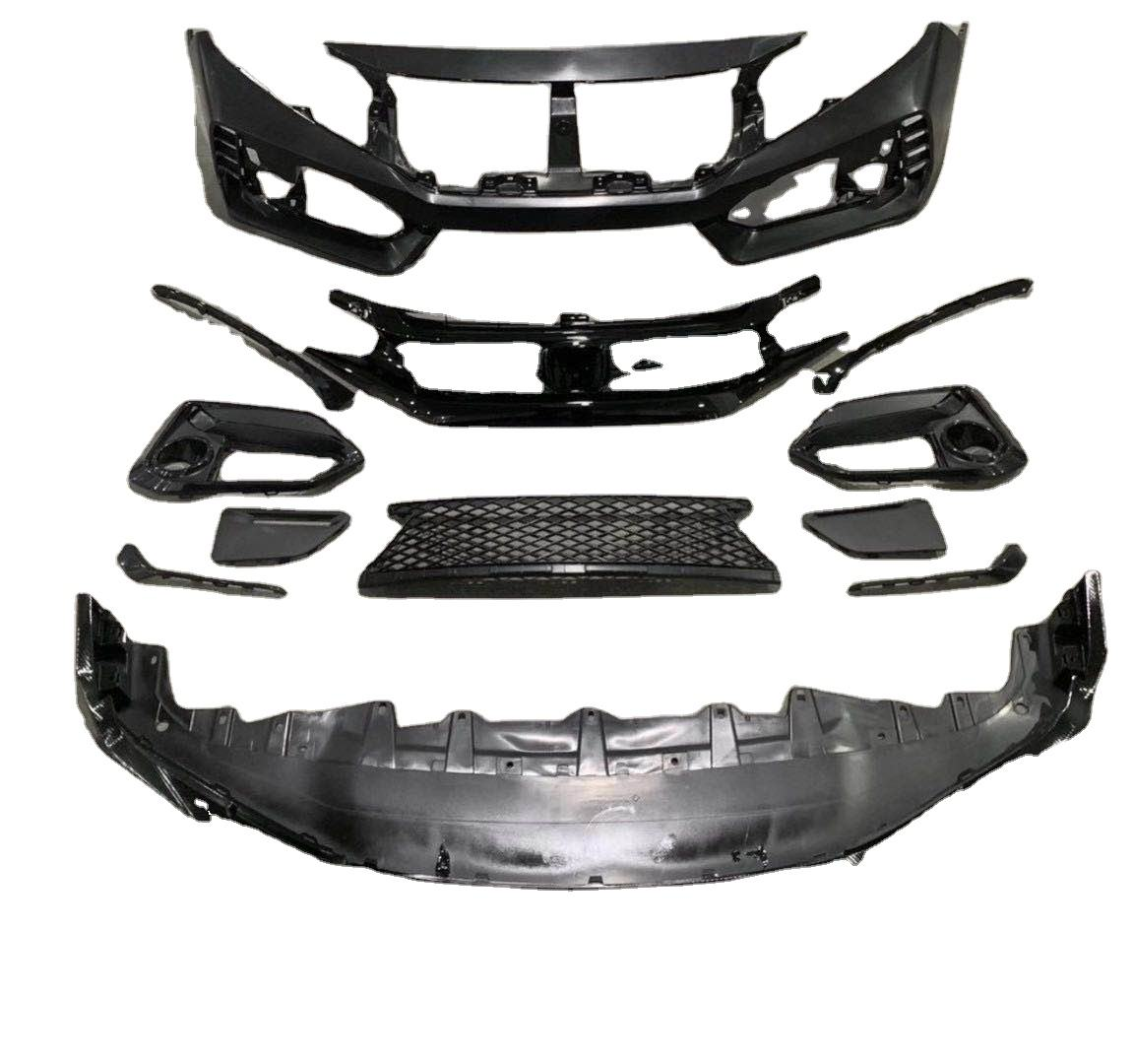 Suitable for 2021 Honda Civic FC Type R SI body kit, front bumper kit, fog lamp frame, front spoiler
