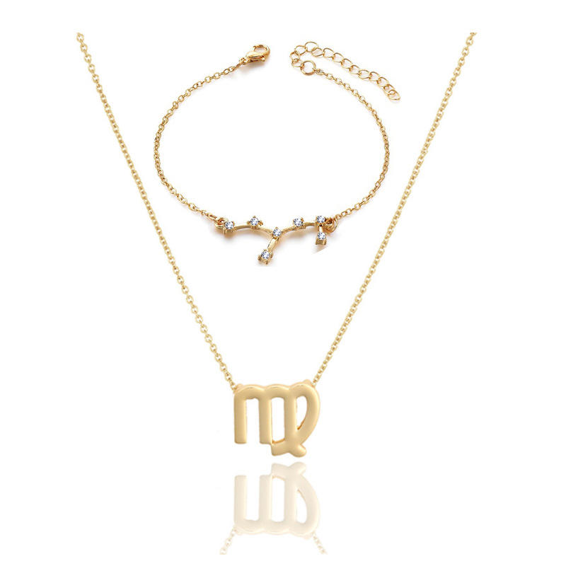 Hot Selling Fashion 12 Zodiac Diamond Gold & Silver Pendant Charm Chain 2 Pieces Set Bracelet Necklace With Card For Women Birth