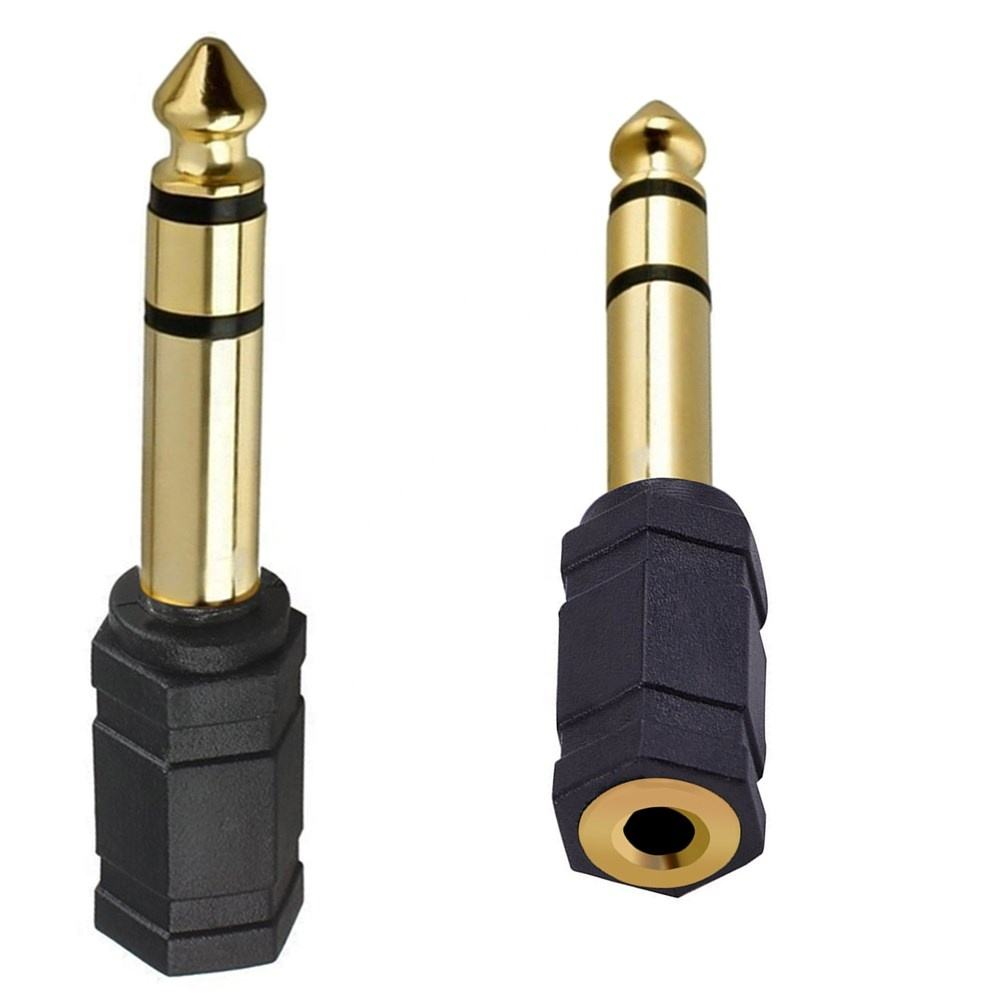 Good quality pvc two channel gold plated 6.35mm stereo male to 3.5mm female adaptor plug to jack RCA connector