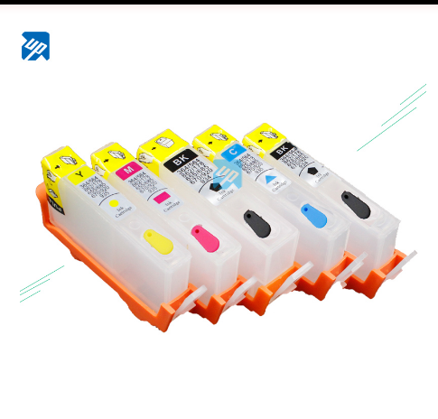 UP 5pcs Refillable Ink Cartridges compatible for HP364 364 XL with chip for HP C5324/C5380/D5460/C6324/C6380/7510/7520/B8550