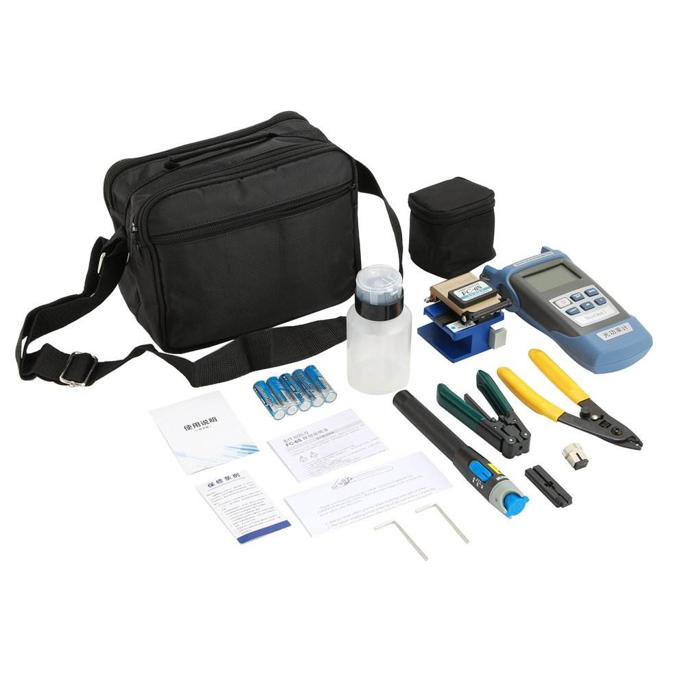 2 Trong 1 FTTH Fiber Optic Tool <span class=keywords><strong>Kit</strong></span> 12 Cái/Bộ FC-6S Fiber Cleaver -70 ~ + 3dBm Quang Power Meter 5Km Laser Pointe