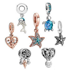 S925 Sterling Silver Ocean Series Dolphin Seahorse Tortoise Conch Fish Pendant Starfish Dangle Charm Fit Bracelet In Stock