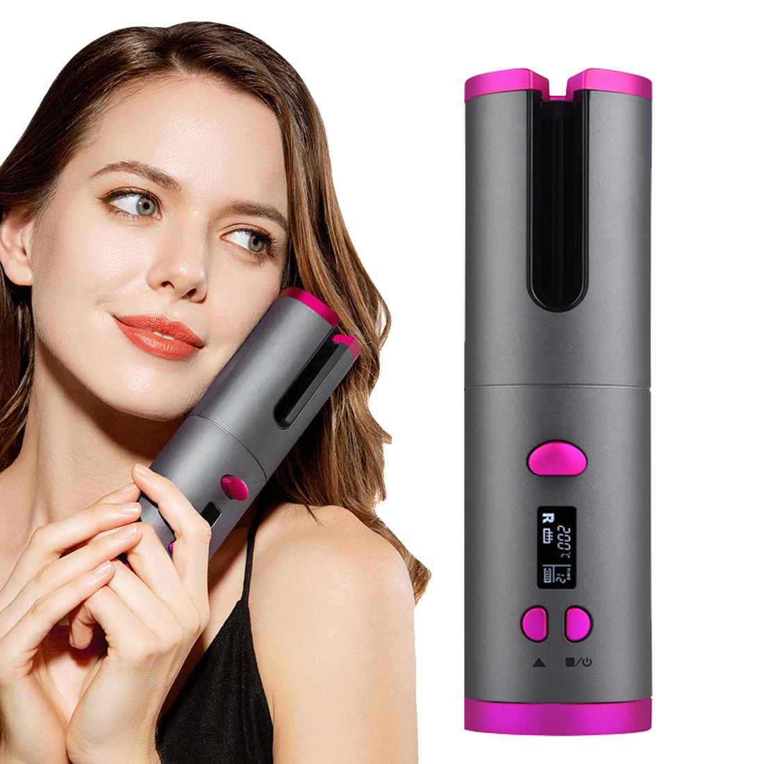 USB Hair Curlers Automatic Curling Iron LCD Display Curling Wand 5000MAH Battery Hair Curling irons Ceramic Curling Hair tools