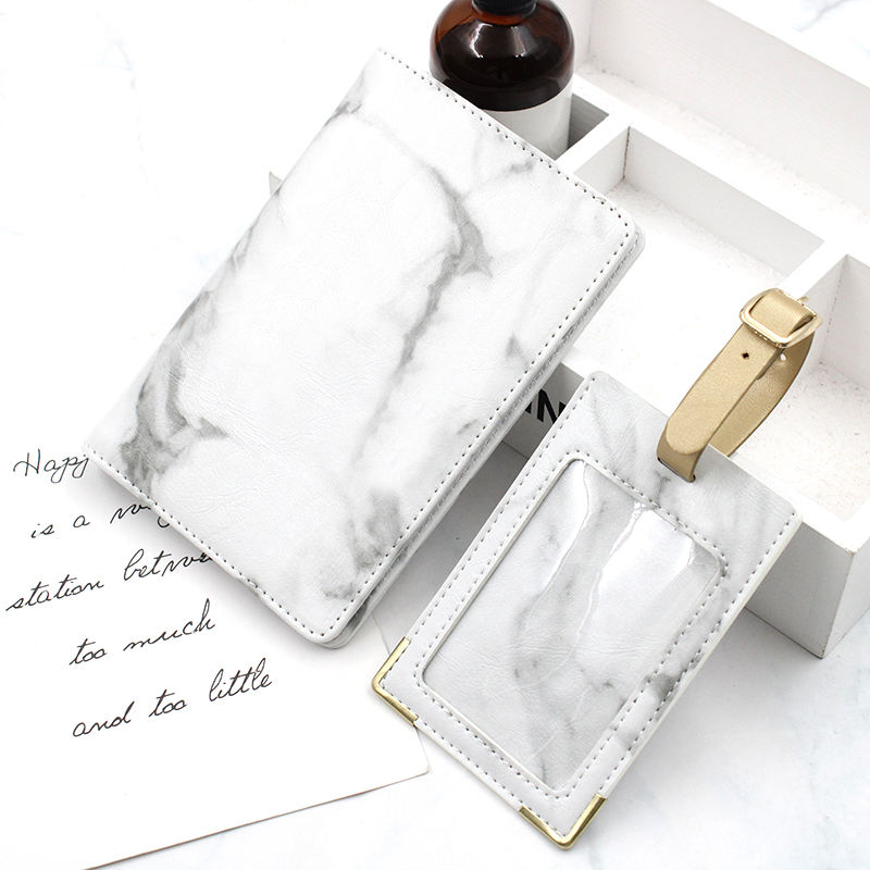 Marble Print Passport Holder Travel Cover Case & Luggage Tag Set in Gift Box with Rose Gold Lettering