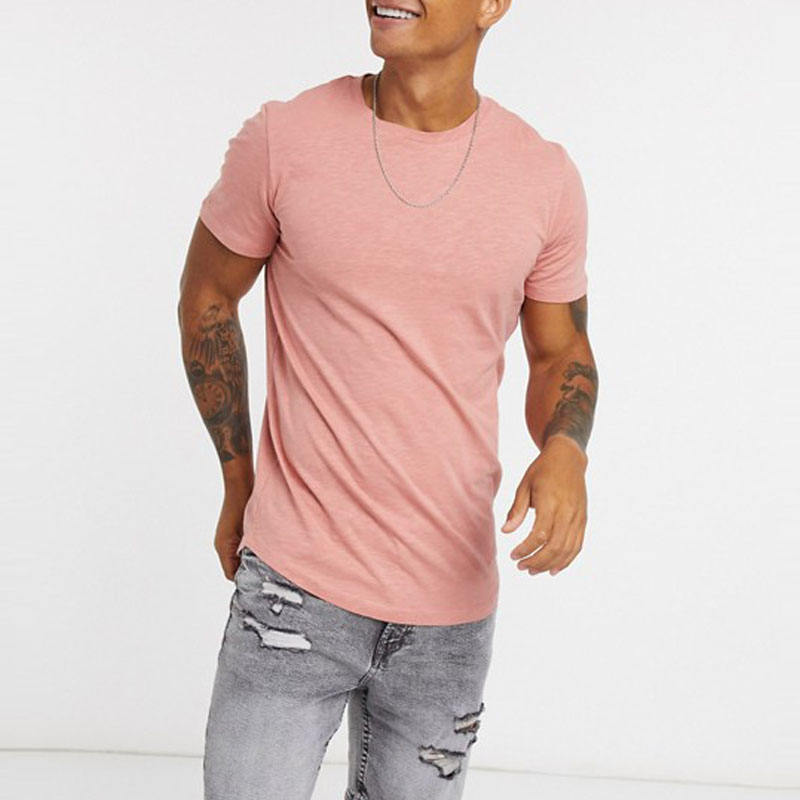 Super Soft Quality Bamboo Fiber Mens Clothing Popular Hot Sales Curved Bottom T Shirt