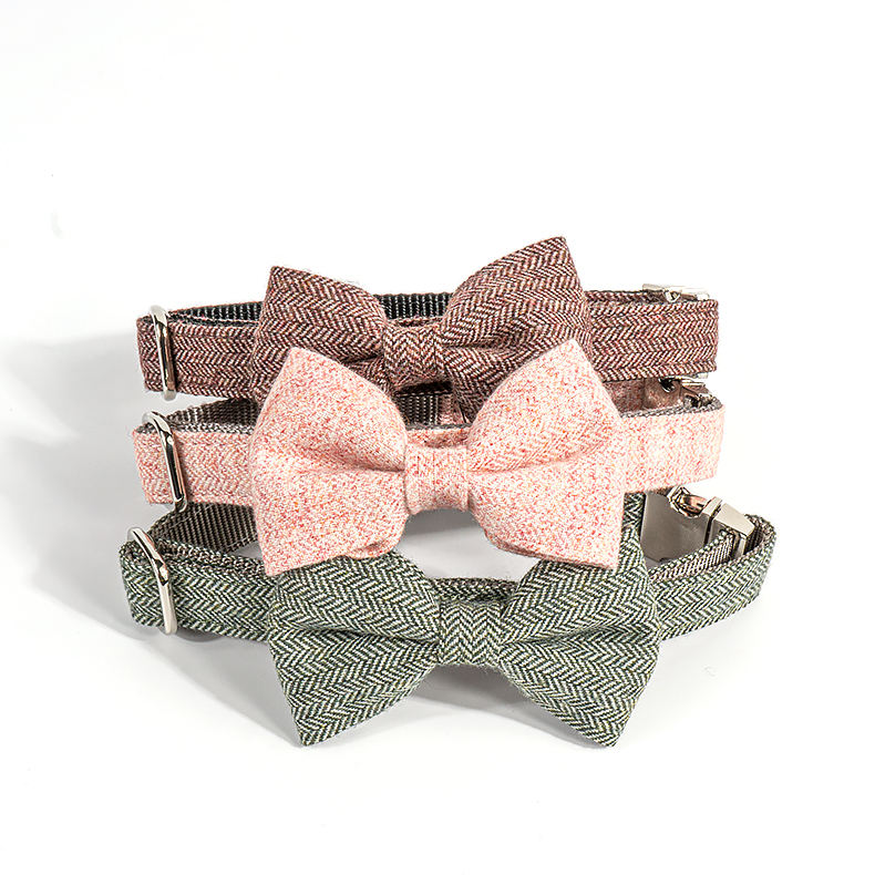 Hot selling soft bowknot pet tweed dog collar premium double layered engrave padded dog with metal buckle