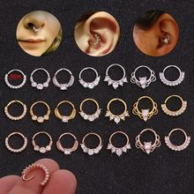Wholesale body piercing jewelry manufacturer cubic zircon custom gold plated eyebrow nose ear ring studs