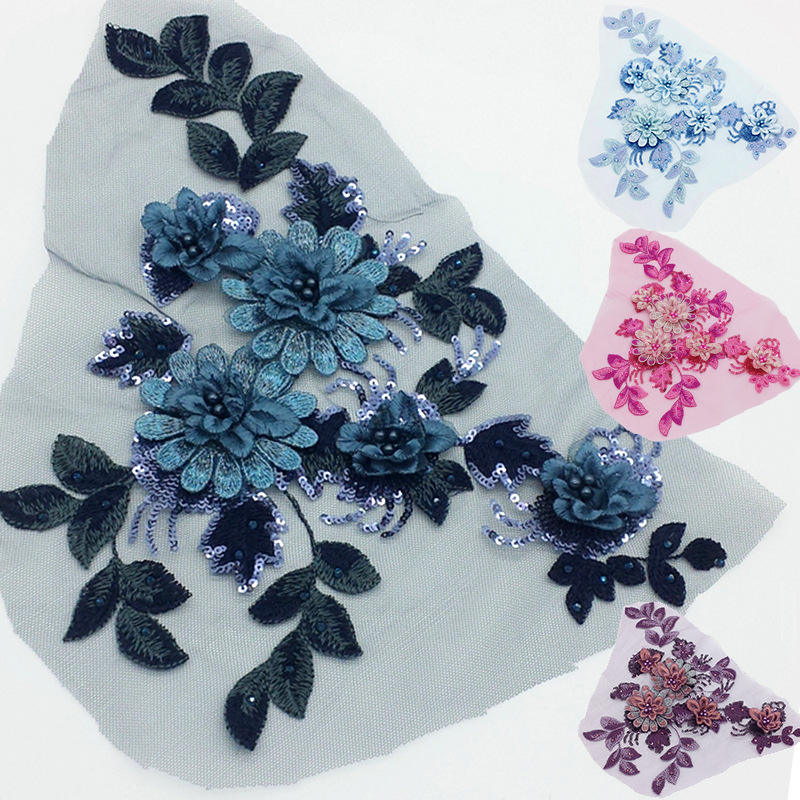DIY 3D Embroidery sequin beaded lace floral flower applique for wedding dress