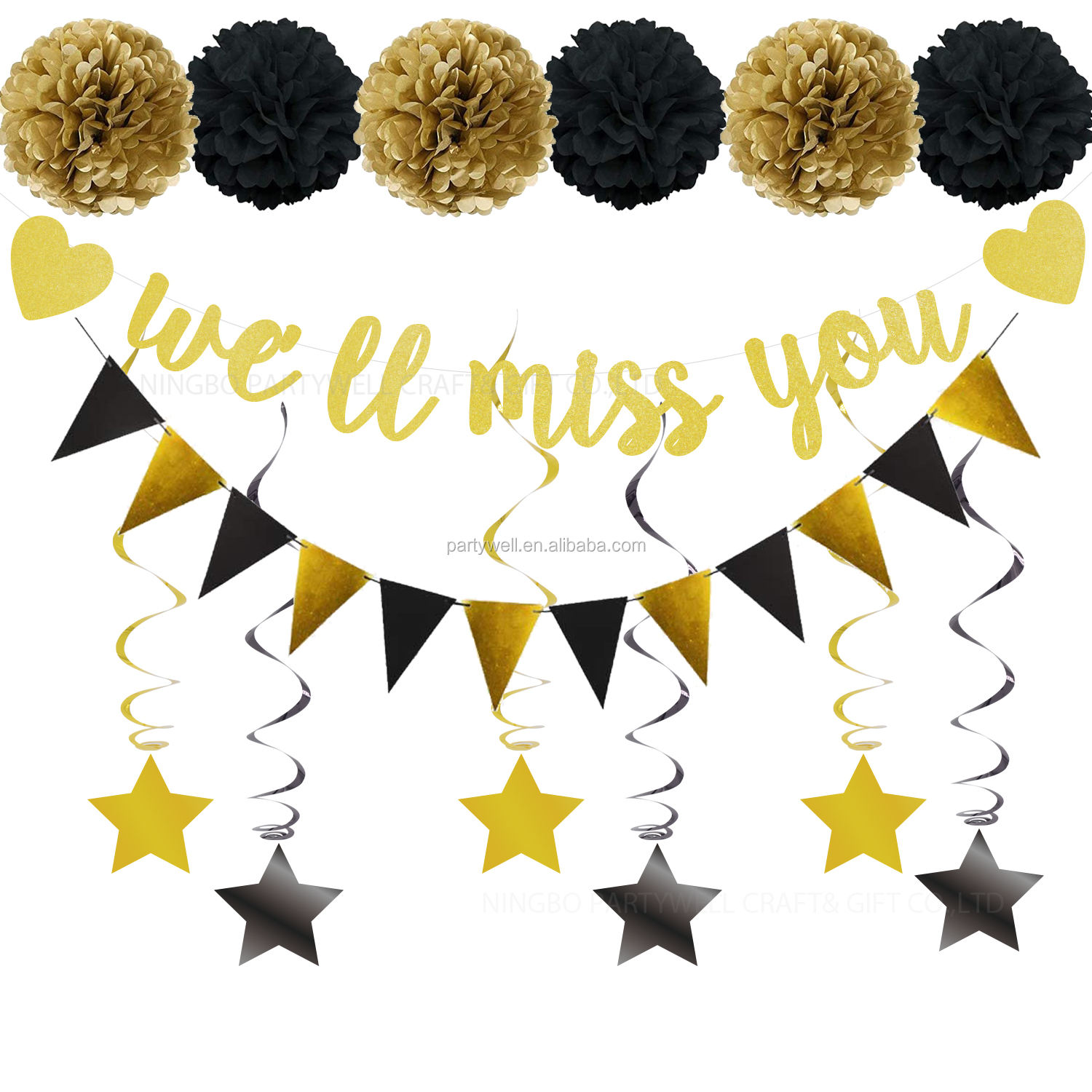 Black Gold Party Decoration Supplies Kit We Will Miss You Banner Triangle Flag Star Swirl Pom Poms for Retirement Farewell Party