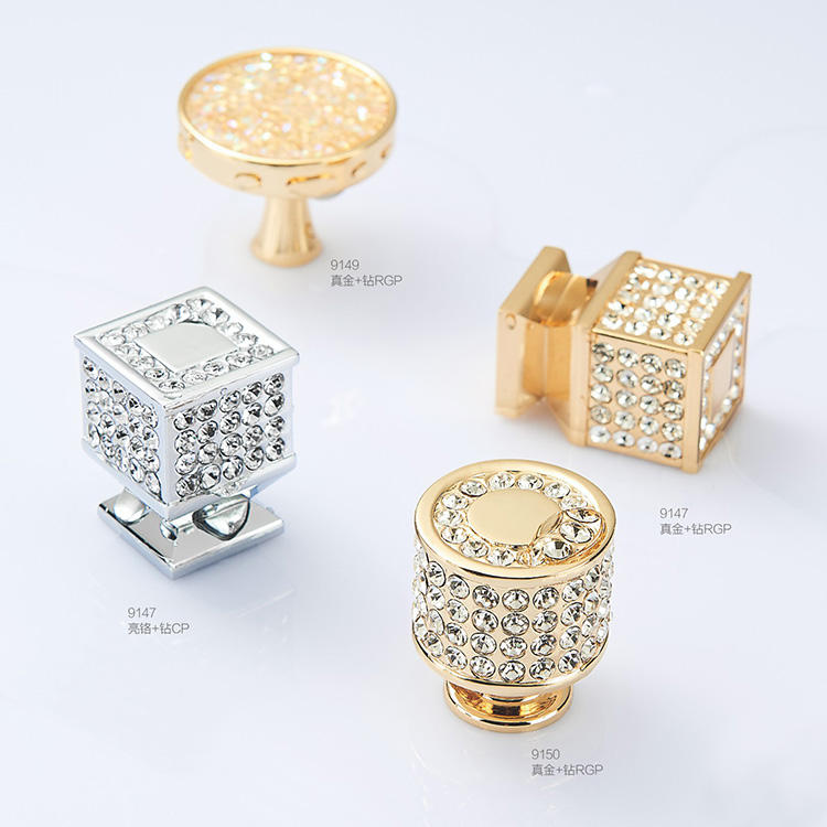 simple design luxury shiny crystal cabinet handle and knob