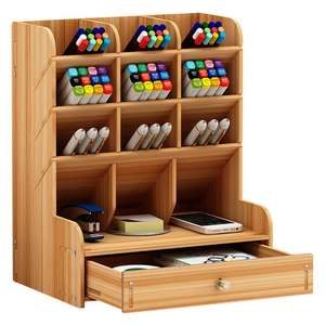 Wooden Pen Holder Storage Box Large Capacity Nordic Creative Fashion Multi-division Pen Holder Office Desktop Storage Shelf