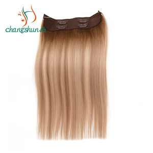 Double Drawn Virgin Gekleurde Balayage Remy Human Stretchy Draad Halo Hair Extensions