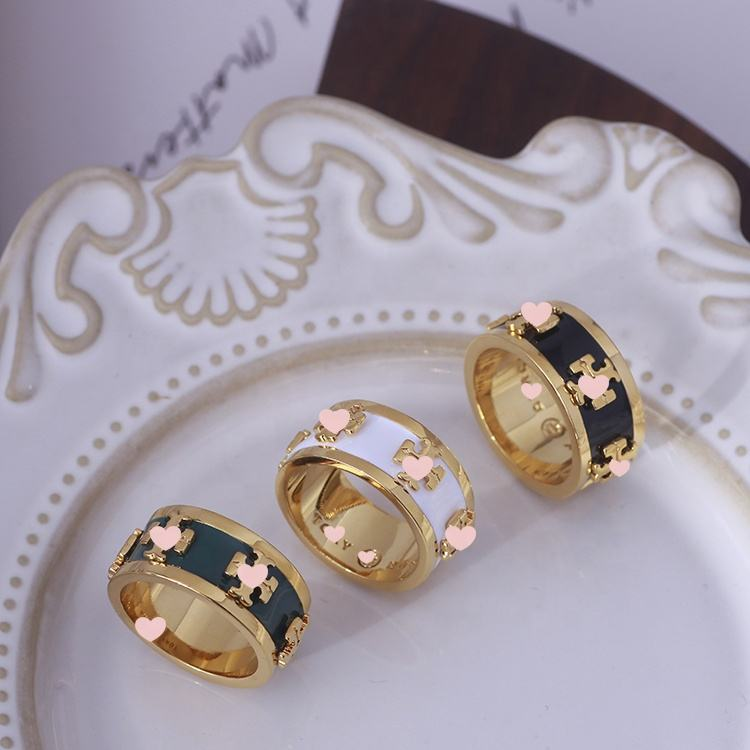 Minimum Order Is One Piece 2021 New Gold plated Enamel Ring Jewelery For Girls (51-53)