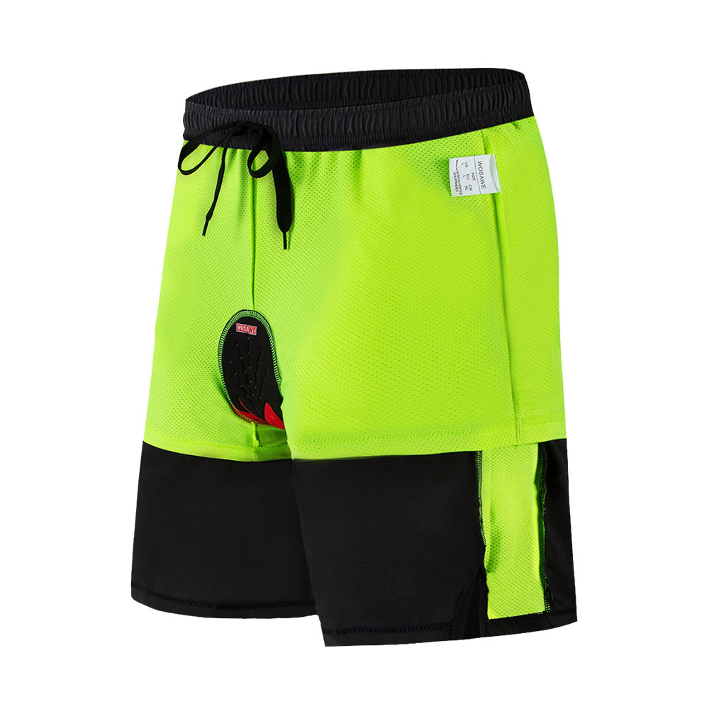 WOSAWE Bicycle Shorts with 3D Silicone Gel Padded Double Liner Mountain Bike Off-Road Shorts Light Weight MTB Shorts