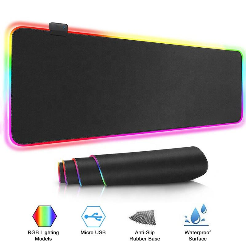 New Popular LED RGB Wired Waterproof Mouse Pad Colorful Lights Custom Anti Slip Game Mouse Keyboard Pad