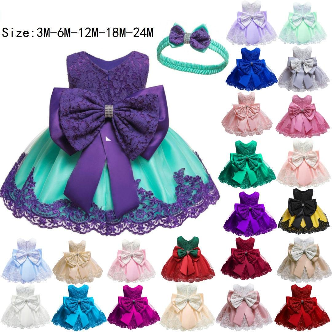 0-24month Newborn Baby Girls Dress Lace Flower Girl Small Kids Clothing First Birthday Party Dress With Headband L1911XZ