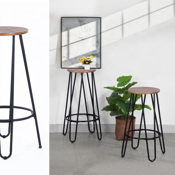 Vintage Barstool Bar Stool Bar Chair Wood Seat Metal Legs Modern Furniture Stock Black White Solid Wood Color Modern