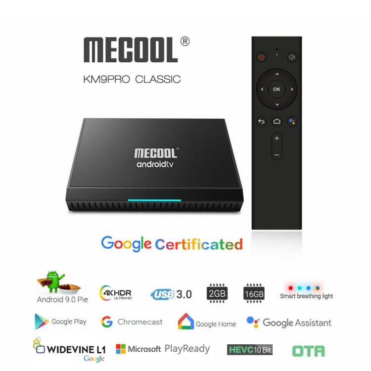 Google Gecertificeerd OTA MECOOL Androidtv TV Box Android 9.0 KM9 PRO ATV DDR4 2GB RAM 16GB Amlogic S905X2 4K USB3.0 KM9 TV BOX
