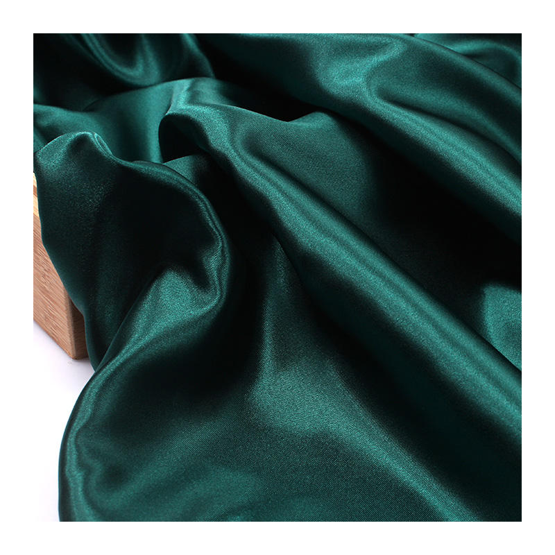 Environmental recycled PET shiny imitated silk satin fabric for upholstery decoration blouse nightgown robes bridal dress